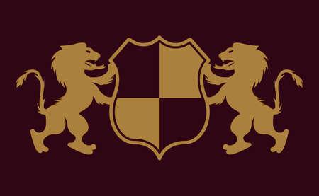 Royal crest two lions holding shield vector gold emblem, badge, label   on dark purple background