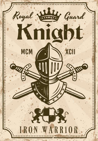 Knight vector medieval thematic poster in vintage style with knight helmet and crossed swords. Illustration with grunge textures and sample text on separate layers
