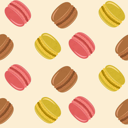 Macarons vector seamless color pattern in cartoon style on light background for decorated clothes or package and other things