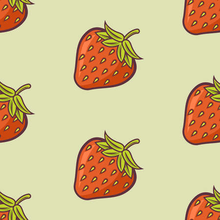 Strawberry cartoon vector colored seamless pattern on light green background for decoration package and other things