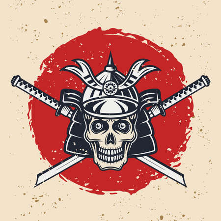 Samurai skull and two swords vintage vector colored illustration in vintage style with grunge textures on separate layer