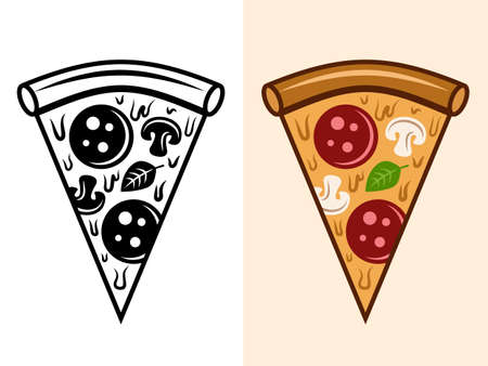 Pizza slice vector objects in two styles monochrome and colored isolated illustration