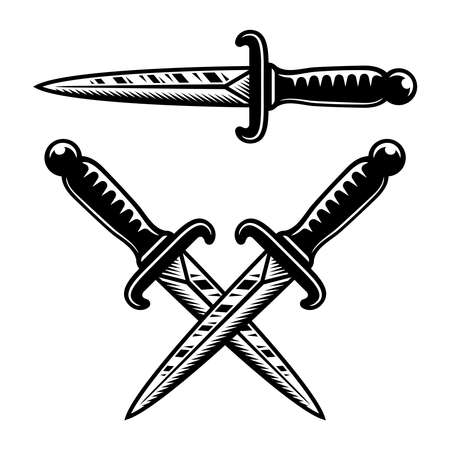 Tattoo style occult knives set of vector objects or design elements in vintage monochrome style isolated on white background