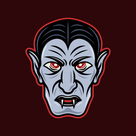 Dracula vampire head cartoon colored style character vector illustration on dark background Illustration