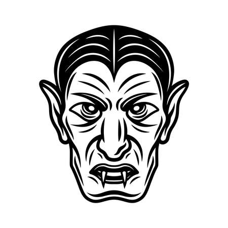 Dracula vampire head vector illustration in monochrome vintage style isolated on white background