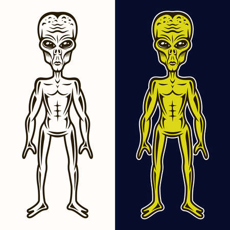 Alien body in two styles black on white and colored on dark blue background vector illustration