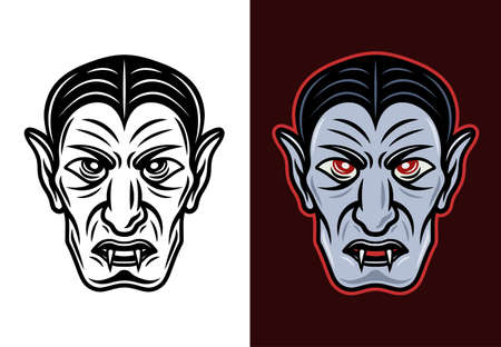 Dracula vampire head in two styles black on white and colored on dark background vector illustration