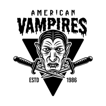 Dracula head and two daggers vector emblem, badge, label or t-shirt print design in vintage monochrome style isolated on white