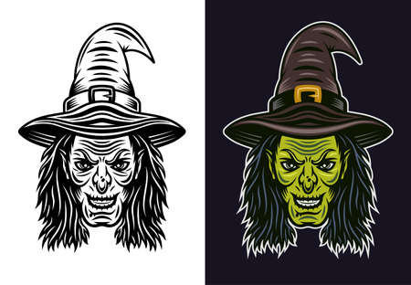 Witch head in two styles black on white and colored on dark background vector illustration Illustration