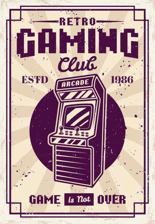 Retro gaming club poster in vintage style with arcade machine vector illustration with textures and text on separate layers Illustration