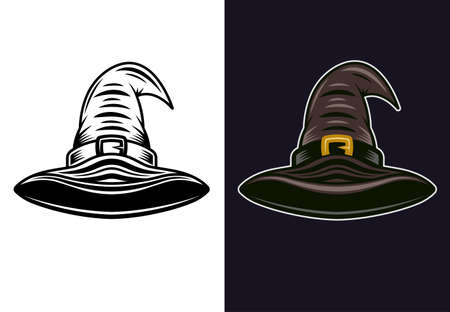 Witch hat in two styles monochrome on white and colored on dark background vector illustration