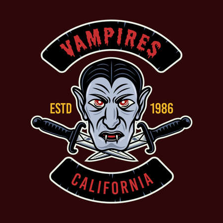 Vampire head colorful vector round emblem, badge, sticker, patch or t-shirt print. Illustration isolated on dark background Illustration