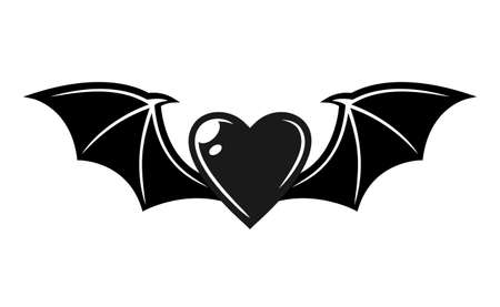 Heart with bat wings vector tattoo style black illustration isolated on white background Illustration