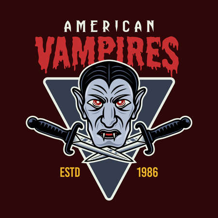 Vampire head and two daggers colorful vector emblem, badge, sticker, patch, logo or t-shirt print isolated on dark background illustration