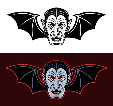 Dracula vampire head with bat wings two styles black on white and colored on dark background vector illustration