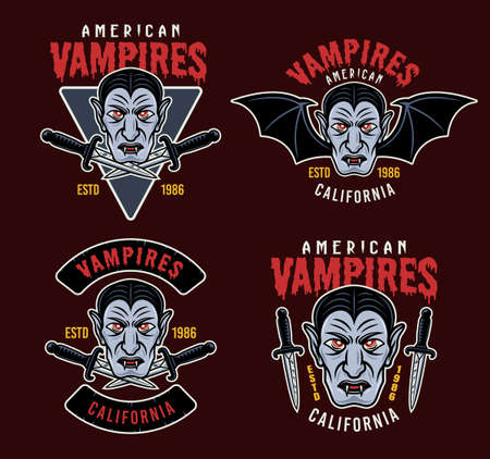 Dracula vampire set of four vector colorful emblems, badges, labels, patches, logos or apparel design prints isolated on dark colored background