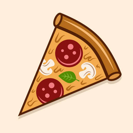 Pizza piece vector colored illustration isolated on light background Illustration