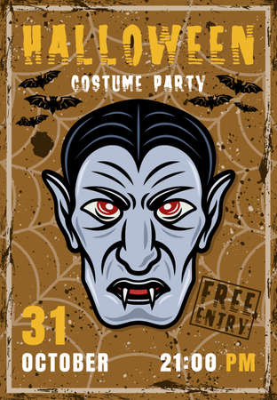 Dracula halloween costume party vector invitation poster with vampire head. Vintage illustration with grunge textures and sample text on separate layers Illustration