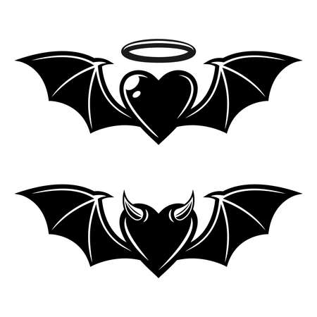 Heart with bat wings angelic and demonic styles vector black tattoo illustration isolated on white background Illustration