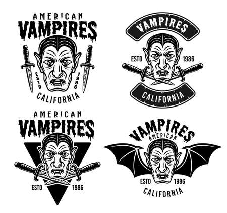 Dracula vampire set of four vector emblems, badges, logos or apparel design prints in vintage monochrome style isolated on white background