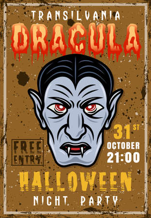Halloween night party vector invitation vintage poster with dracula head. Grunge textures and sample text on separate layers