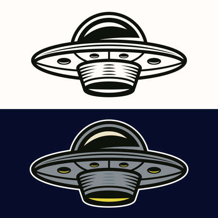 Ufo in two styles black on white and colored on dark blue background vector illustration