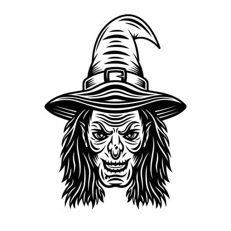 Witch head in hat and with long hair vector illustration in vintage monochrome style isolated on white background Illustration