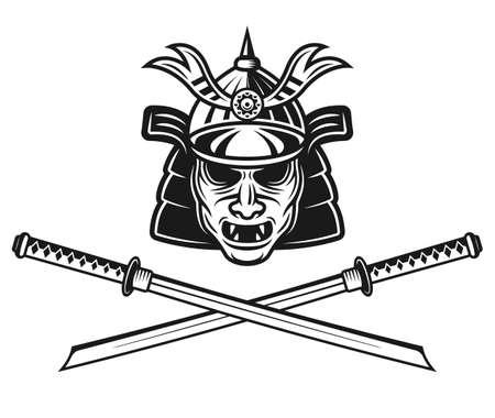 Samurai mask traditional japanese helmet and two crossed katana swords vector monochrome illustration isolated on white background