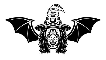 Witch head with bat wings vector illustration in monochrome tattoo style isolated on white background
