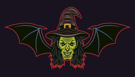 Witch head with bat wings vector colored cartoon style illustration isolated on dark background Illustration