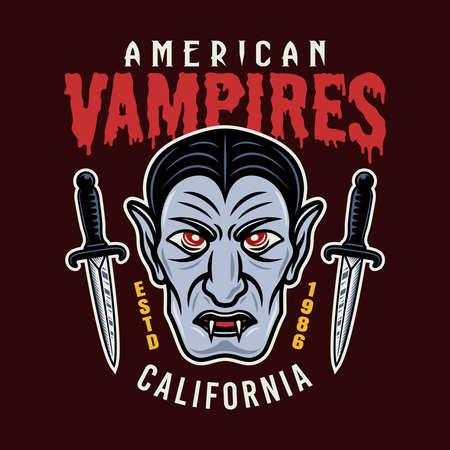 Dracula vampire head colorful vector emblem, badge, sticker, patch, logo or t-shirt print isolated on dark background illustration Illustration