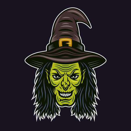 Witch head in hat character colorful vector illustration in cartoon style isolated on dark background Illustration