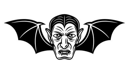 Dracula head with bat wings vector illustration in monochrome tattoo style isolated on white background