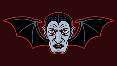 Dracula head with bat wings vector colored cartoon style illustration isolated on dark background
