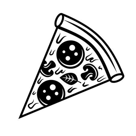 Pizza slice vector object or design element in vintage monochrome style isolated on white background