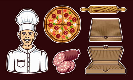 Pizzeria set of vector colorful objects or design elements on dark background