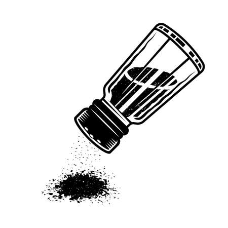 Salt shaker upside down to sprinkle vector monochrome graphic object or design element in monochrome style isolated on white