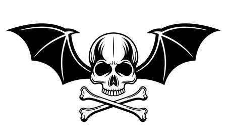 Skull with bat wings and two crossed bones vector illustration in monochrome tattoo style isolated on white background Illustration