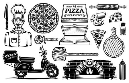 Pizza and pizzeria set of vector graphic objects or design elements in vintage monochrome style isolated on white background Illustration