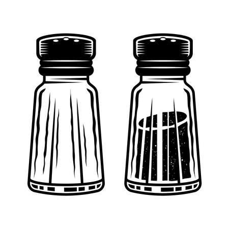 Salt shaker two styles full and empty vector objects or design elements isolated on white, monochrome detailed illustration