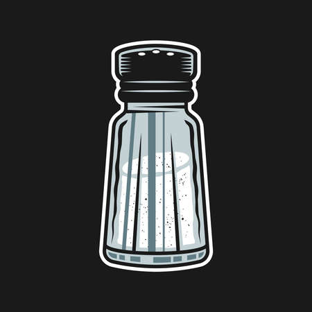 Salt shaker vector colored graphic object or design element isolated on dark background