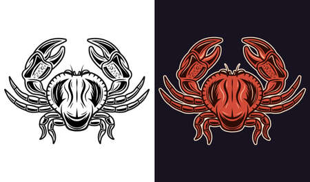 Crab two styles black on white and colorful on dark background vector illustration
