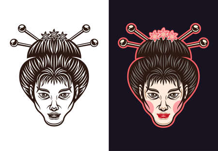 Geisha face traditional japanese woman in two styles black on white and colored on dark background vector illustration Illustration