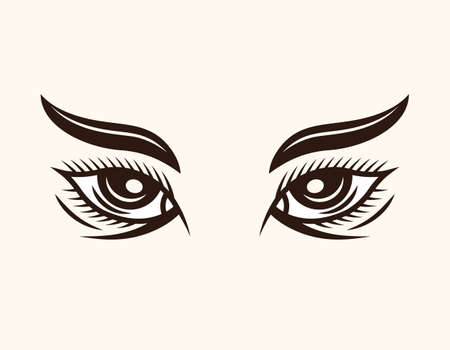 Woman eyes with eyebrows and lashes vector cartoon style decorative illustration isolated on light background Illustration