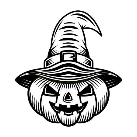 Halloween pumpkin in witch hat vector graphic object or design element in vintage monochrome style isolated on white background Illustration