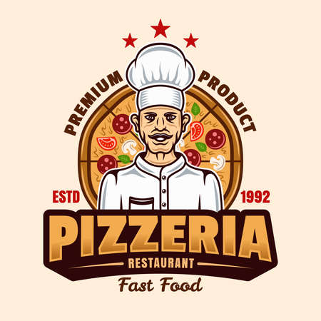 Pizzeria vector emblem, badge or label with chef in cartoon colorful style isolated on light background. Fast food delivery template