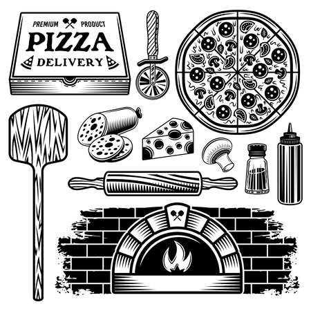 Pizza set of vector objects and elements in black and white style isolated on white background Illustration