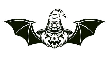 Halloween pumpkin in witch hat and with bat wings vector illustration in monochrome tattoo style isolated on white background Illustration