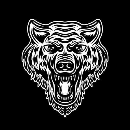 Angry wolf head vector illustration isolated on dark background 版權商用圖片 - 152661265