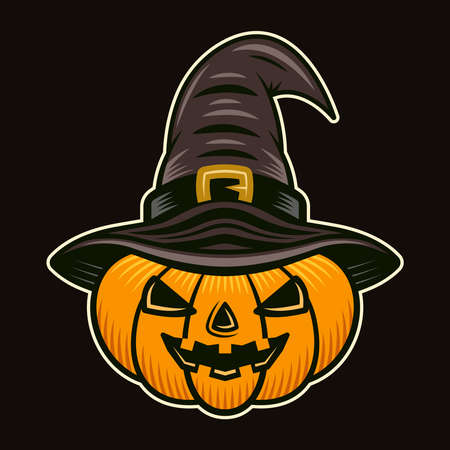 Halloween pumpkin in witch hat character colorful vector illustration in cartoon style isolated on dark background